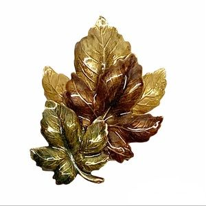 Enamel fall colors maple leaves brooch pin green red yellow shiny finish